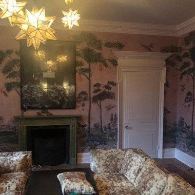 Installing Andrew Martin wallpaper, The Kit Kemp Collection in Nothing Hill, London