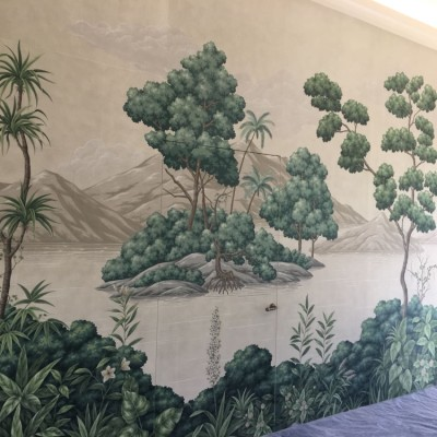 Installing Gracie Handpainted Panoramic Wallpaper from New York in Antibes