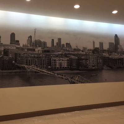 Installing Digital Print Mural, Strand, London