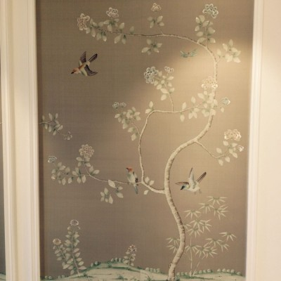 Installing Fromental Wallpaper, Hampstead, London