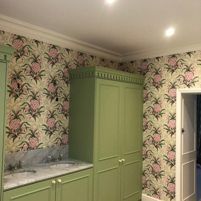 Installing Fromental wallpaper in Shepherd's Bush, London