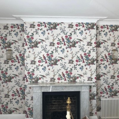 Little Greene wallpaper installed in Hamilton Terrace, London, NW8