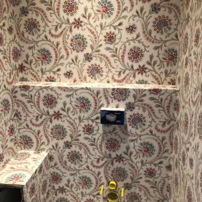 Nina Cambpell wallpaper installed in Manresa Road, Chelsea, London, SW3