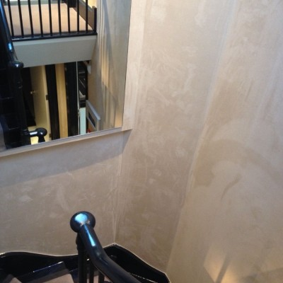 Installing Phillip Jeffries Suede Wallpaper , Sloane Square, London
