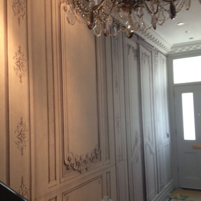 Installing French Fabric Wall Covering, Wandsworth, London