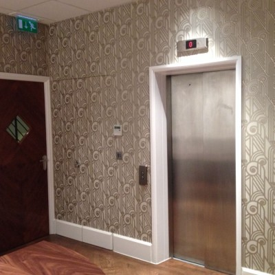 Installing Hand Printed American Wallpaper, Green Park, London