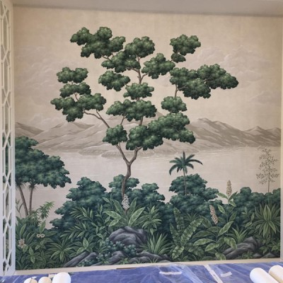 Installing Gracie Handpainted Panoramic wallpaper in Antibes, France